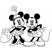 Disegno di Minnie e Topolino Classici da colorare