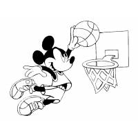 Disegno di Topolino e il Basket da colorare