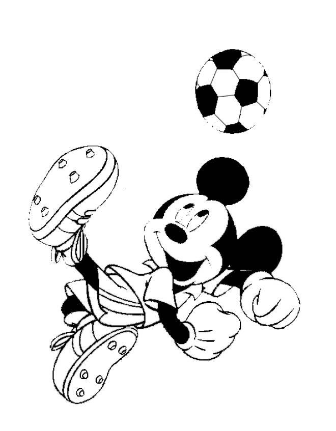 Disegno di topolino calciatore da colorare per bambini for Immagini da colorare di minnie