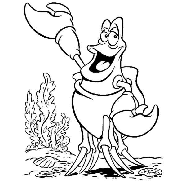 Disegno di sebastian della sirenetta da colorare per for La sirenetta da stampare