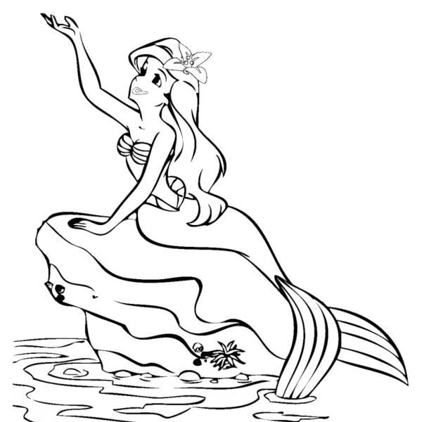 Disegno di La Sirenetta sulla Roccia da colorare