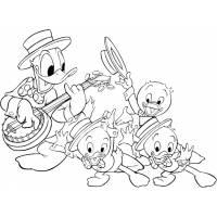 disegno di Qui Quo Qua e Paperino con Chitarra da colorare