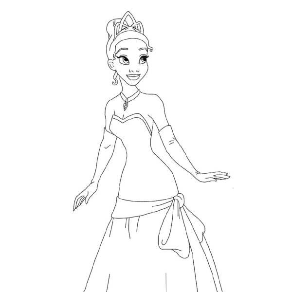 Disegno di Tiana la Principessa da colorare