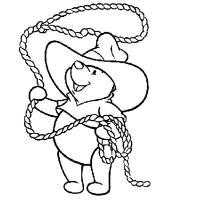 Disegno di Winnie Pooh Cowboy da colorare