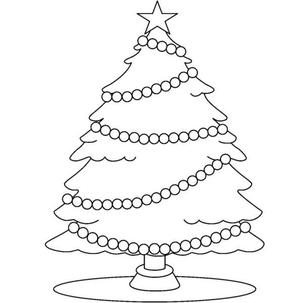 Immagini Di Alberi Di Natale Da Colorare E Stampare.Disegno Di Albero Con Stella Di Natale Da Colorare Per