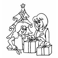 disegno di Albero con Regali di Natale da colorare