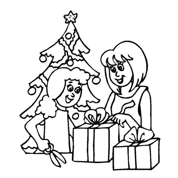 Albero Di Natale Con Regali Da Colorare.Disegno Di Albero Con Regali Di Natale Da Colorare Per Bambini Disegnidacolorareonline Com