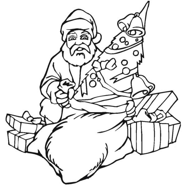Disegno di Babbo Natale con Regali da colorare