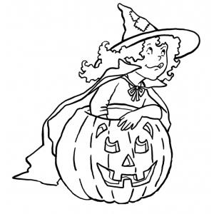 Disegno di bambina con la zucca da colorare per bambini for Disegni halloween da colorare gratis