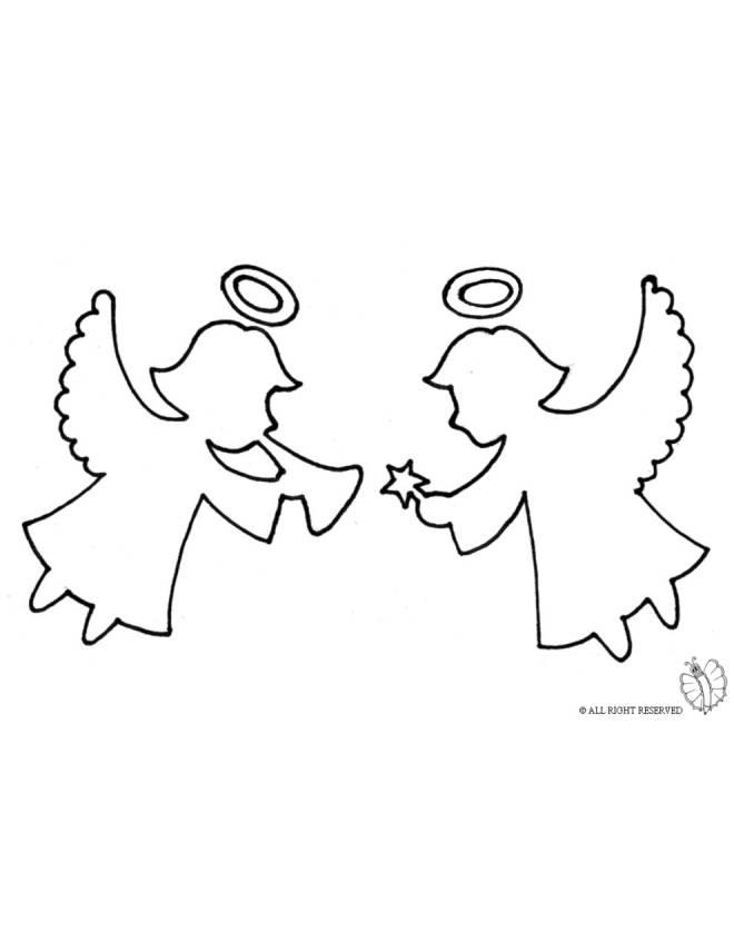 Disegno di angioletti che festeggiano da colorare per for Figure di angeli da stampare