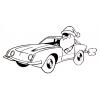 Disegno di Babbo Natale in Auto da colorare