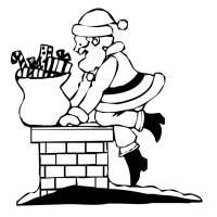 Disegno di Babbo Natale nel Camino da colorare