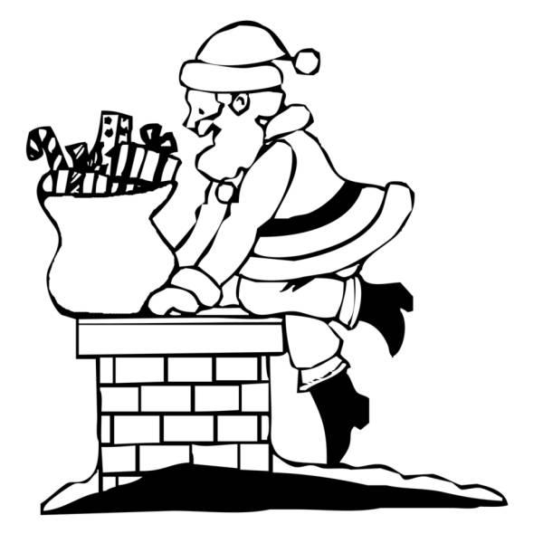 Immagini Di Natale Da Colorare Sul Computer.Disegno Di Babbo Natale Nel Camino Da Colorare Per Bambini