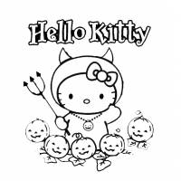 disegno di Hello Kitty Halloween da colorare