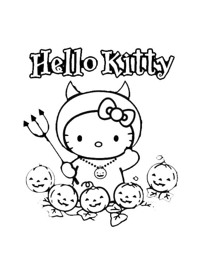 Disegno Di Hello Kitty Halloween Da Colorare Per Bambini