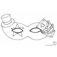 Disegno di Maschera Carnevale con Cappellino da colorare