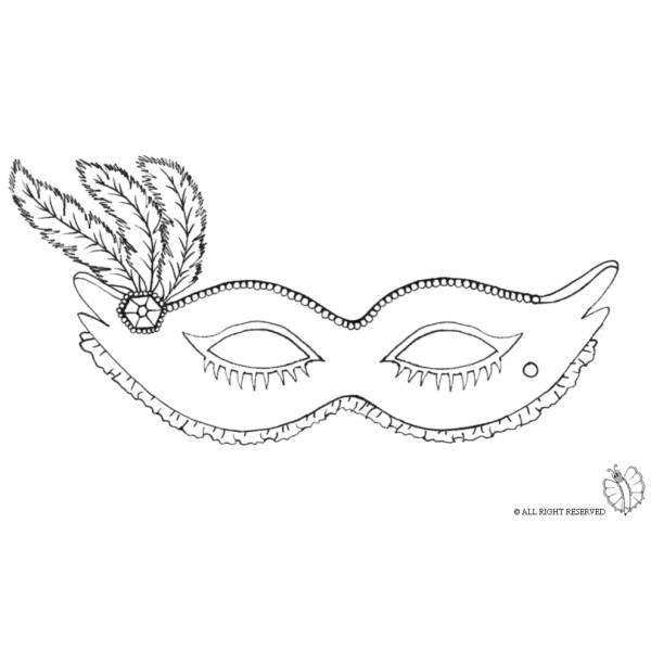 Disegno Di Maschera Carnevale Con Piume Da Colorare Per Bambini