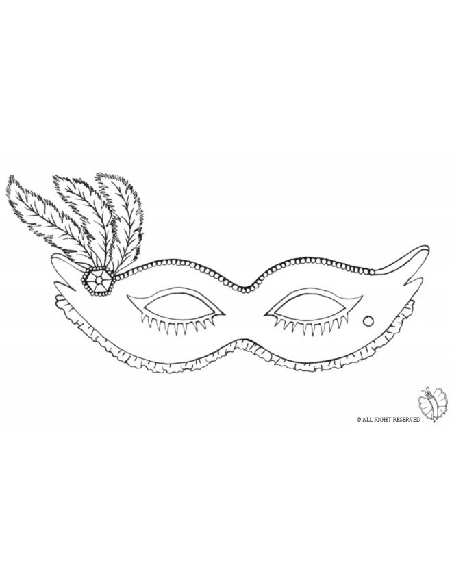 Disegno di maschera carnevale con piume da colorare per for Disegno pagliaccio da colorare
