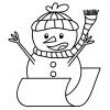 disegno di Pupazzo di Neve in Slitta da colorare