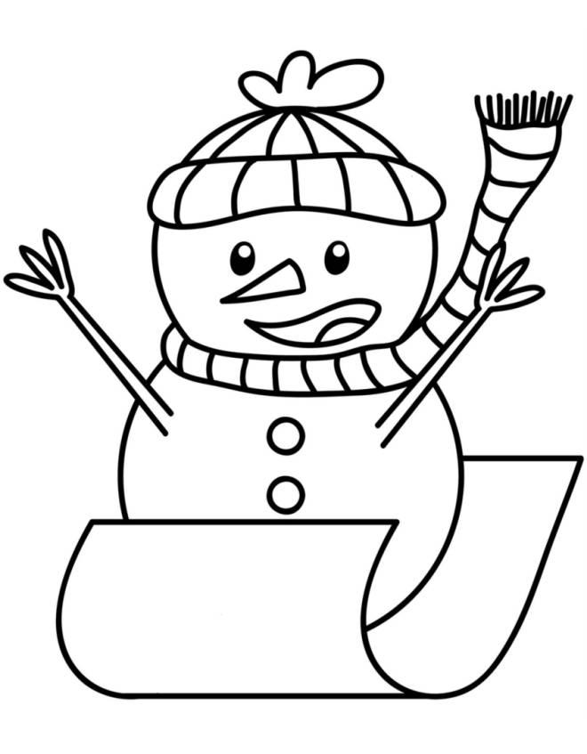Stampa Disegno Di Pupazzo Di Neve In Slitta Da Colorare