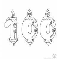 disegno di Cento Anni Candeline Compleanno da colorare