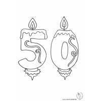 disegno di Cinquanta Anni Candeline Compleanno da colorare