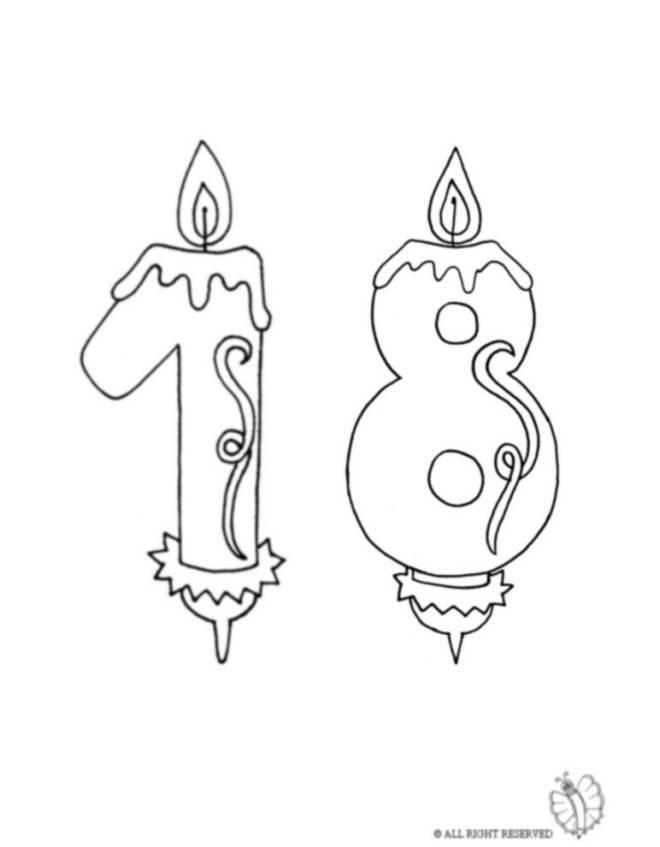 disegno di Diciotto Anni Candeline Compleanno da colorare