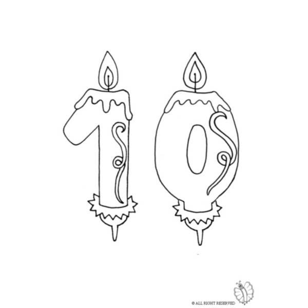 Disegno di Dieci Anni Candeline Compleanno da colorare
