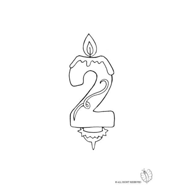 Disegno Di Due Anni Candeline Compleanno Da Colorare Per Bambini