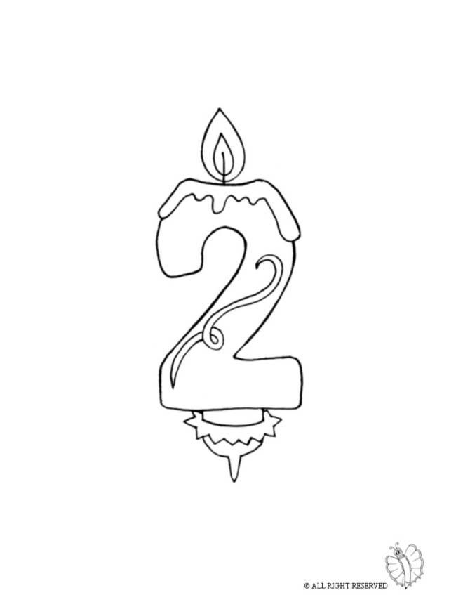 Disegno di due anni candeline compleanno da colorare per