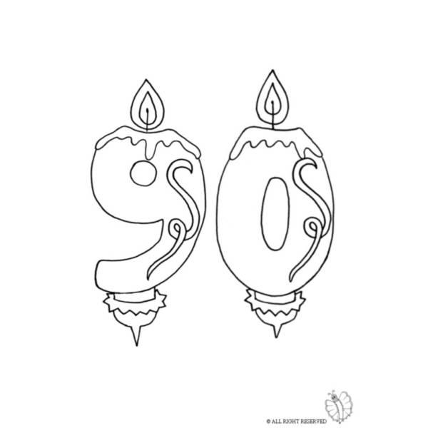 Disegno di Novanta Anni Candeline Compleanno da colorare