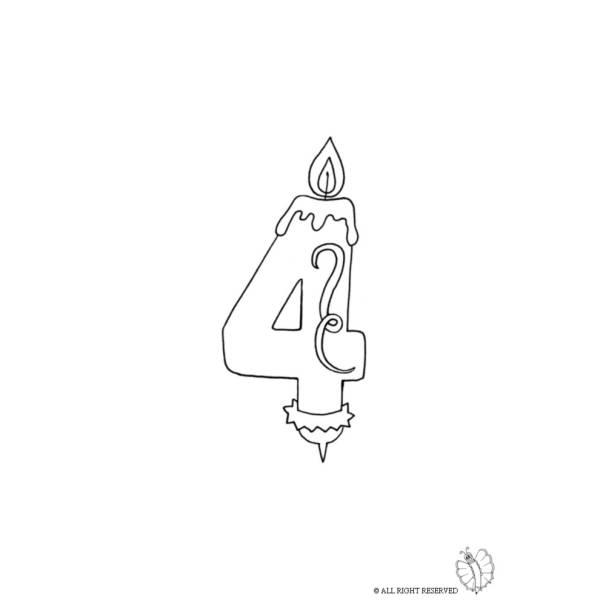 Disegno di Quattro Anni Candeline Compleanno da colorare