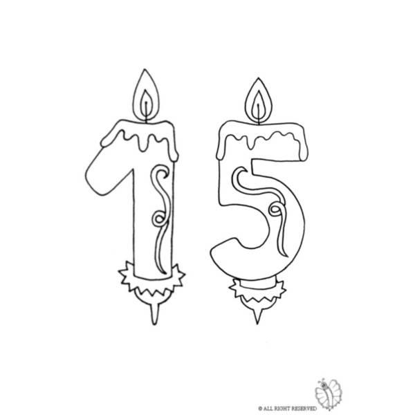 Disegno di Quindici Anni Candeline Compleanno da colorare
