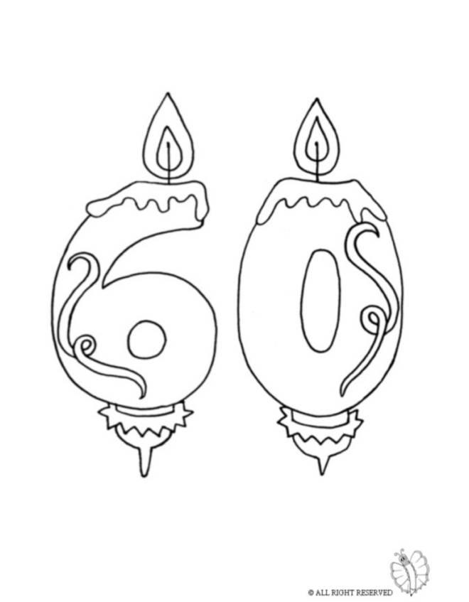 Disegno di sessanta anni candeline compleanno da colorare