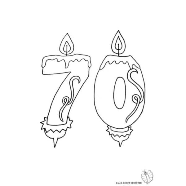 Disegno di Settanta Anni Candeline Compleanno da colorare
