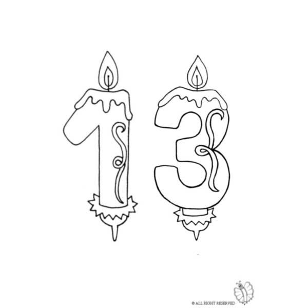 Disegno di Tredici Anni Candeline Compleanno da colorare