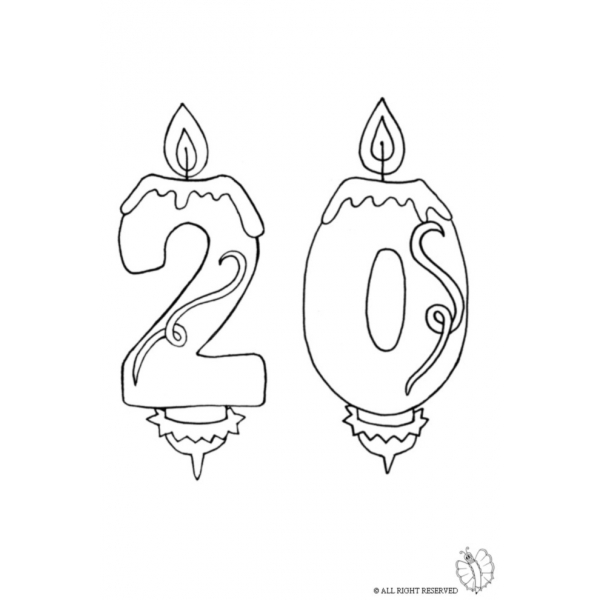 Disegno di venti anni candeline compleanno da colorare per