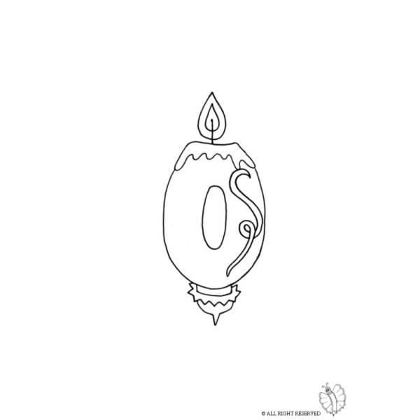 Disegno di Zero Numero Candeline Compleanno da colorare