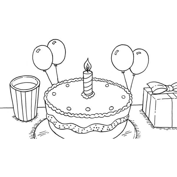 Disegno di Torta Primo Compleanno da colorare