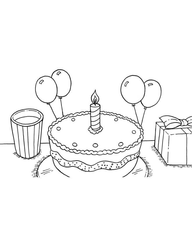 Disegno Di Torta Primo Compleanno Da Colorare Per Bambini