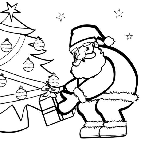 Disegno di Babbo Natale e i Regali da colorare