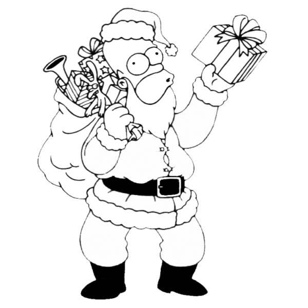 Disegni Da Ricopiare Di Natale.Disegno Di Natale In Casa Simpson Da Colorare Per Bambini