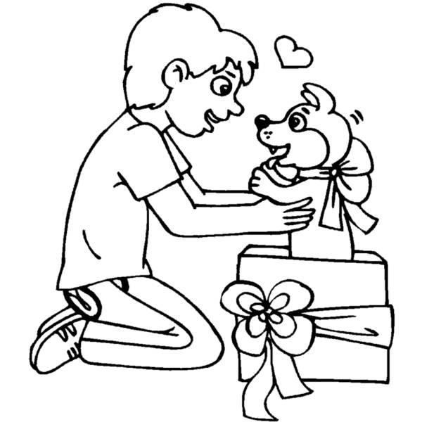 Disegno di un cucciolo per regalo da colorare per bambini - Cucciolo da colorare stampabili ...