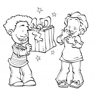 Disegno di regalo tra amici da colorare per bambini gratis for Regali per amici