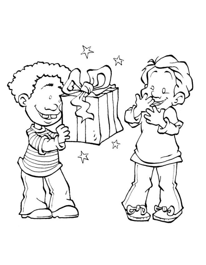 Disegno di regalo tra amici da colorare per bambini for Cerco in regalo tutto per bambini