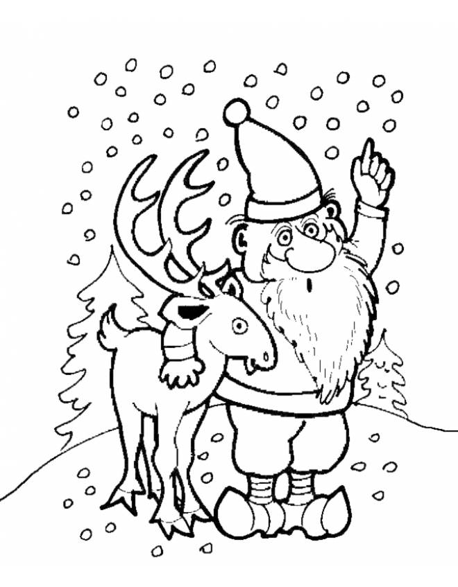 Disegno di renna di natale da colorare per bambini for Immagini natale gratis