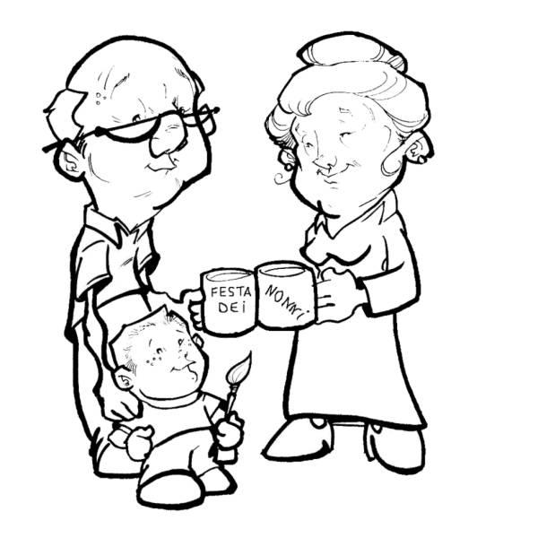 Disegno di Festa dei Nonni da colorare