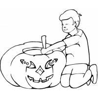 disegno di Bambino con la Zucca da colorare