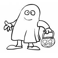 Disegno di Fantasma con la Zucca da colorare