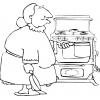 Disegno di Nonna in Cucina da colorare